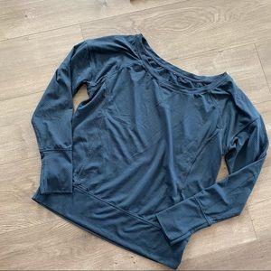 Lorna Jane Teal Sheer Pullover Sweater Top